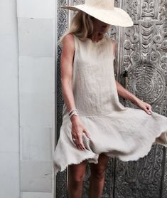 The Linen Positano Dress Linen Frill Dress   Drop Waist