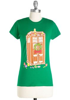 Favorite Time-Travel of Year Tee. Youve found a jolly companion for the holiday season in this Doctor Who tee! #gold #prom #modcloth