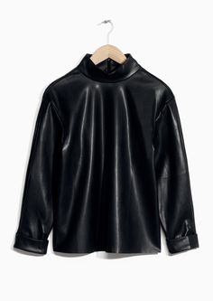 & Other Stories image 1 of Mock Collar Faux Leather Top in Black
