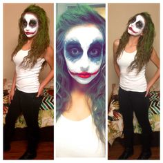 Female Joker makeup for Halloween party!!