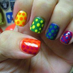Multi Colored Polka Dot Nails