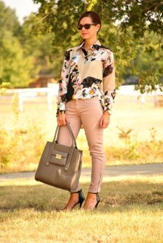Fall outfit featuring pieces from the 3.1 Philip Lim for Target collection!  Floral blouse, blush moto jeans and taupe tote.