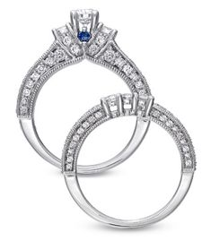 This IS the one. Someday. Diamond Three Stone Bridal Set in White Gold by Vera Wang Love Collection