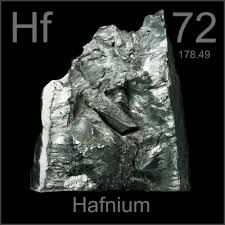 Hafnium is a chemical element with the symbol Hf and atomic number 72. A lustrous, silvery gray, tetravalent transition metal, hafnium chemically resembles zirconium and is found in zirconium minerals. Its existence was predicted by Dmitri Mendeleev in 1869, though hafnium was not identified until 1923, making it the penultimate stable isotope element to be discovered (rhenium was identified two years later). Hafnium is named after Hafnia, the Latin name for Copenhagen, where it was…