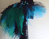Peacock tutu. Good idea for next Halloween.