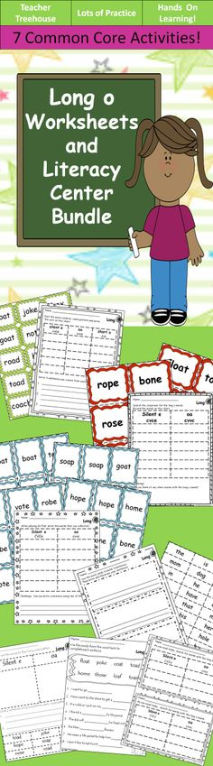 This is a bundle with 7 different hands on worksheets and activities to practice common long o spelling patterns (Silent e and oa). The activities included are: • Pocket Chat Word Sort- Sorting cards and worksheet • Go Fish- Playing cards and worksheet • Read and Write the Room- Word cards and worksheet • Sentence Builder-Sight word and long o word cards and worksheet • Independent Reading- Worksheet • Cut, Sort, and Write Worksheet • Fill in the Word Worksheet