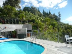 Waimanu Lodge Northland New Zealand. Guest deck, pool, bbq, spa and garden Harbor View, New Zealand, Bbq, Deck, Luxury, Garden, Outdoor Decor, Home, Barbecue