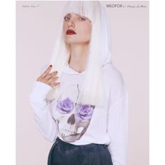"""HP4/4-Wildfox Lia Block Skull&Roses LS w/hood-S HP-4/4-Casual Cool Party!                         Rare 2012 Limited Edition Skull and Roses long sleeve tee shirt hoodie, features skull with purple roses and rosary on forehead. Excellent condition!! only selling bc I need the money, but I LOVE this shirt!❤️Size:S, 25"""" L 20"""" pit to pit and 23"""" arm opening to pit or 27"""" arm opening to shoulder. Material is 100% cotton, like a tee shirt. Thanks! Wildfox Tops Sweatshirts & Hoodies"""
