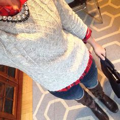 #ootd    #oldnavy shirt, sweater, jeans, and bag   #BedStu boots   #jcrew necklace   #jcrewfactory necklace    Head-to-(almost)toe @oldnavy today - loving this new gray cable sweater.