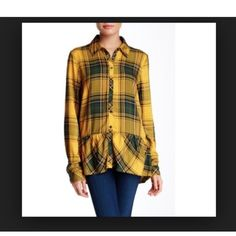 Kenzie Ruffle Hem Woven Plaid Blouse Excellent condition and gorgeous golden yellow color. Kensie Tops Button Down Shirts