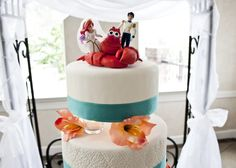 Ariel little mermaid wedding topper! Couldn't help myself this is too cute!! Its just like end of the movie!