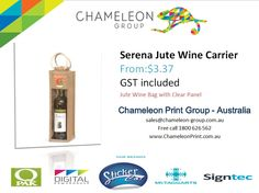 Serena Jute Wine Carrier - Chameleon Print Group - Australia	  http://chameleonprint.com.au/product/serena-jute-wine-carrier/