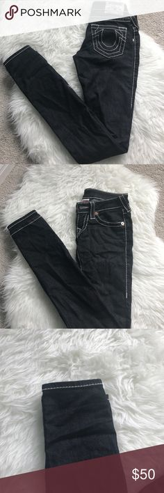 • True Religion Dark Grey Denim Jeans size 24 • Size 24 Dark Gray True Religion skinny jeans. Has the thick white embroidery that is so popular with this brand! EUC. Slight small discoloration spot on the right thigh area of pant leg, hardly noticeable, price reflects. True Religion Pants Skinny