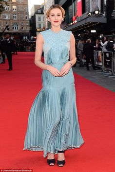 Powder blue: Laura Carmichael wowed on the red carpet on Wednesday night, as she turned out for the Opening Night Gala of the BFI London Film Festival Powder Blue Gown, Red Carpet 2016, Laura Carmichael, London Film Festival, Podium, Opening Night, Downton Abbey, Dress To Impress, Wednesday