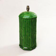 Italian Faux Bamboo Green Ceramic Table Lamp 1970s