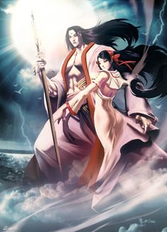 """Izanami And Izanagi by GENZOMAN.deviantart.com on @deviantART - From the artist's comments: """"In Japanese mythology the two deities Izanagi (The Male Who Invites) and Izanami (The Female Who Invites) are the creators of Japan and its gods. In one important myth, they descend to Yomitsu Kuni, the underworld and land of darkness."""""""