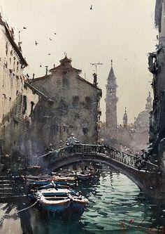 "Joseph Zbukvic ""Venice Canal"" Watercolor on Paper - at Principle Gallery Watercolor Architecture, Watercolor Landscape Paintings, Watercolor Paintings, Watercolor Sketch, Venice Painting, Boat Painting, Joseph Zbukvic, Venice Canals, Impressionist Art"