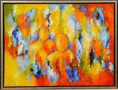 Køb og salg af moderne billedkunst og malerier - Lene Schmidt-Petersen, akryl på lærred, 'Mennesker på en god vandring' - DK, Odense, Kratholmvej