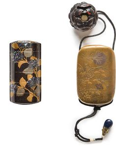 Two lacquer inro The second by the Kajikawa family, Edo period century) Japanese Beauty, Japanese Art, Edo Period, Tea Caddy, Laque, Bond Street, Small Birds, 18th Century, Samurai