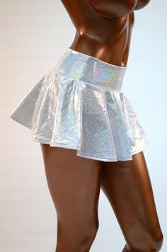 Silvery White Holographic Sparkle Circle Cut by CoquetryClothing