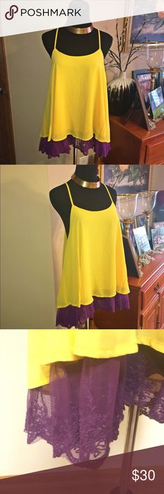Host pick 🚨Umgee  yellow and purple top with lace Beautiful Umgee size large top with lance detail.. measurements in pictures above.. NWT Umgee Tops Blouses