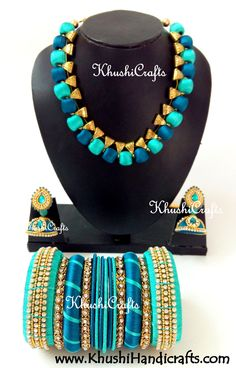Silk Thread Bridal Collection Necklace set with Bangles in Peacock shades