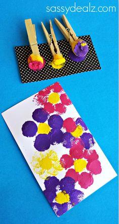 Best Flower Art Projects For Kids Spring Pom Poms Ideas Summer Art Projects, Toddler Art Projects, Summer Crafts, Projects For Kids, Painting Crafts For Kids, Art For Kids, Kids Fun, Pom Pom Crafts, Flower Crafts