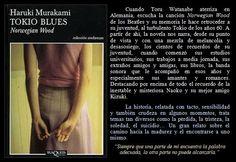 Tokio Blues. Haruki Murakami.  EduRead: #RecomiendoLeer @davidgscom Haruki Murakami, Beatles, Rotterdam, Blues, Book Reviews, Recommended Books, Novels, Songs, Reading