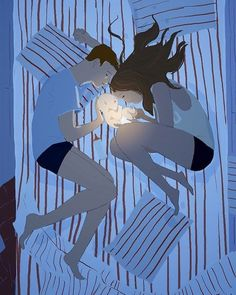 A father and mother cradle their shining newborn in their bed. Family illustration by artist Pascal Campion. Blues, with a bright white in the middle. by 19 inches. Shipped flat and signed by the artist. Pascal Campion, Art And Illustration, Pregnancy Art, Pregnancy Timeline, Pregnancy Pictures, Pregnancy Journal, Early Pregnancy, Pregnancy Fashion, Couple Art