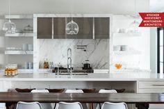 Marble opened shelves in a modern kitchen - Portfolios - Dering Hall All White Kitchen, White Kitchen Cabinets, White Counters, Kitchen Hoods, Kitchen Pendants, Glass Kitchen, Glass Pendants, Home Trends, Kitchen Interior