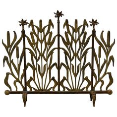 Cat Tail Iron Fireplace Screen | From a unique collection of antique and modern fireplace tools and chimney pots at https://www.1stdibs.com/furniture/building-garden/fireplace-tools-chimney-pots/