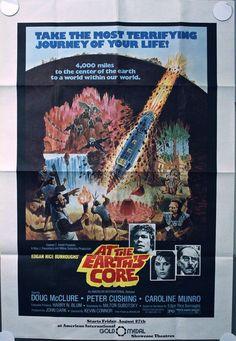 AT THE EARTH'S CORE 1976 NY SUBWAY POSTER - Peter Cushing Caroline Munro #BMovie #SciFi #MoviePoster