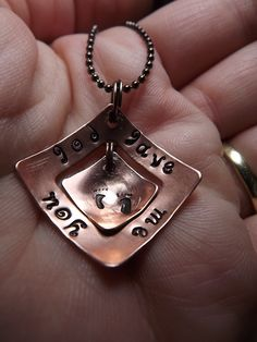 Hand stamped copper necklace. $28.50  www.facebook.com/inspiredcreationsbyheidi