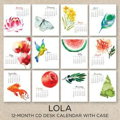 watercolor calendar - Google Search