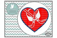 Hockey Heart with Hockey Sticks and Puck Sports Cutting File LL024D  SVG DXF EPS AI JPG PNG from DesignBundles.net