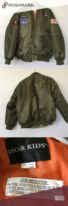 Kids bomber jacket Awesome army green kids bomber jacket. There are several patches, including a US Flag, P 40 Warhawk, US Army apache, and a cpl more. The coat itself is in awesome condition as my son outgrew it in about 10 mins it seems. The zipper is in great condition but the zipper pull is mia. I'm not sure how easy that is to fix. Price reflects zipper. This seems to fit a little more like an 8/10 to me. oscar kids Jackets & Coats