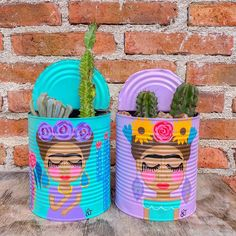 Tin Can Art, Tin Art, Tin Can Crafts, Diy And Crafts, Painted Tin Cans, Painted Flower Pots, Scrap Wood Projects, Mini Canvas Art, Do It Yourself Crafts
