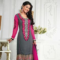 Dark #Grey Faux Georgette #Churidar Kameez