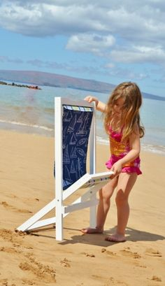 I want to make this!  DIY Furniture Plan from Ana-White.com  Build your own wood sling chairs, also known as deck chairs or wood beach chairs, in a child size. Featuring removable slings for easy washing, simple styling, and easy instructions, this foldable wood beach chair is affordable and cute, perfect for a perfect day at the beach -vma.