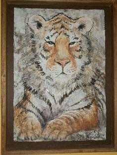 Tiger. Acrylic collage by Frances Smith