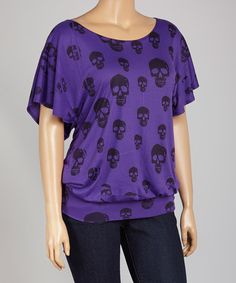 This Violet Skull Blouson Top - Plus by Poliana Plus is perfect! #zulilyfinds