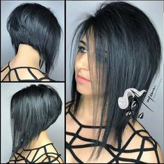 Cute Angled Bob Haircuts Trending Right Now for 2019 - Hair Trends Website Medium Hair Styles, Curly Hair Styles, Angled Bob Haircuts, Angled Bobs, Haircut And Color, Great Hair, Hair Today, Hair Dos, Short Hair Cuts