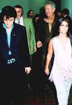 ladypresley:  Elvis and Priscilla Presley pictured with Vernon Presley and Lamar Fike at the International Hotel in Las Vegas, NV, August 29, 1969.
