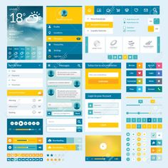 Illustration about Set of flat web elements, icons and buttons for mobile app and web design. Illustration of mobile, internet, forecast - 33822707 Mobile Ui Design, App Ui Design, Page Design, Flat Web Design, Web Minimalista, Handy App, Ui Buttons, Application Mobile, Applications
