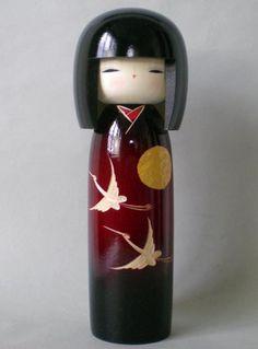 Crane kimono Japanese Kokeshi dolls