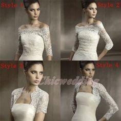 long sleeve lace wedding jacket | Long Off Shoulder Sleeve Lace Jacket Bolero Coat Bridal Wedding Wrap ...