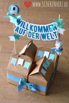 Willkommen auf der Welt - Verpackung mit wehenden Fahnen | scherenherz