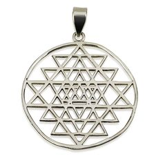 Thin Sri Yantra in Circle Pendant Sterling Silver 925 Sacred Geometry #MAGAYA #Pendant