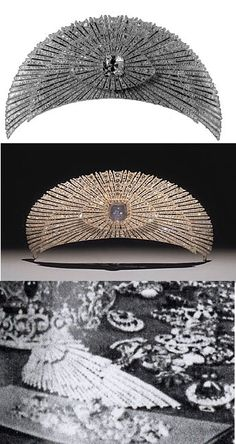The sunburst Yussoupov tiara, by Chaumet, 1914. With multiple diamond radial arms, sometimes with a star sapphire at its center, sometimes a yellow diamond.