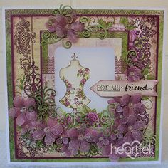 My Friend Handmade Greeting Card with Vellum Flowers - The pretty vellum petunias on this handmade greeting card add such a delicate and soft feeling! Handmade Birthday Cards, Greeting Cards Handmade, Heartfelt Creations Cards, Square Card, Flower Shape, Color Card, Petunias, Altered Art, Swirls